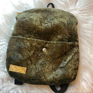 Fur-Totes green velvet snakeskin mini backpack